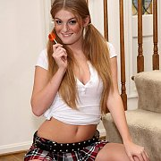 Pigtails And Freckles On A Red Hair Coed In Uniform