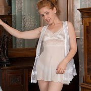 Creamy Flesh Blue Eyes Redhead Teasing In White Lingerie