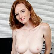 Busty Pale Redhead With Freckles Topless