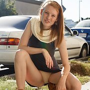 Panty Flashing Ginger With Freckles In Public