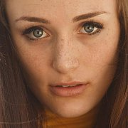 Sweet Freckle Face Lady Close Up