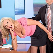 Mature lady gets banged at the office