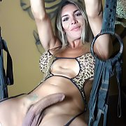 Hung Tranny Hanging From A Sex Swing with Nelly Ochoa