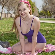 Cute Blonde Teen At The Park