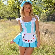 Cosplay Blonde Strips Outdoors