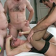 Mature Swinger Taking Three Cocks