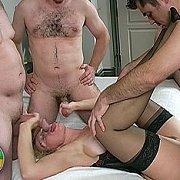 Mature Swinger Taking Three Cocks