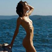 Amazing Nude Skinny Teen At The Ocean