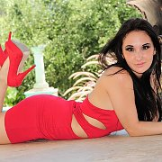 Freckled Latina Teen Strips Red Dress To Toy