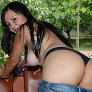 Jean Skirt And Thong Stripping Latin Lady Toys