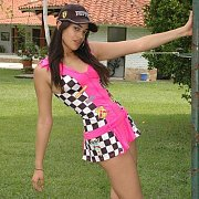 Latina Racer Girl Strips Outside To Toy