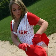 Softball Uniform Teasing Coed On The Field