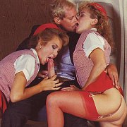 Two Classic Stars Play With Cock