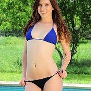 Bikini Latina Strip And Toy By The Pool