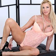 Italian Busty Blonde Milf Strips Lingerie And Masturbates