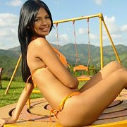 Orange Bikini Latina Teen At Playground