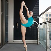 Arousing Young Dancer On  Balcony