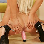 Blonde Beauty Sitting On Her Vibrator