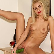 Slim Blonde Inserts A Big Cucumber