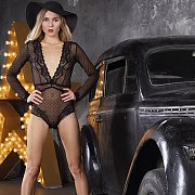 Slim Blonde Beauty Strips Lingerie By Old Car
