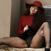 Curly Haired Brunette Beauty Pantyhose Teasing