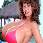 Huge Boobs Asian Bikini Milf Shows Tan Lines