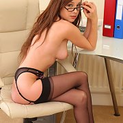 Garter Stockings Office Girl At Her Desk
