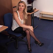 Stockings Babe Strips At The Office