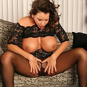 Lusty Pantyhose Milf With Big Tits Exposed