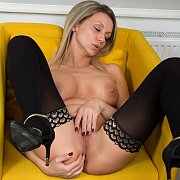 Milf In Stockings Strips Lingerie To Masturbate