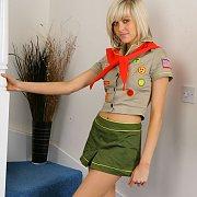 Scout Uniform Stripteasing Blonde