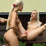 Blonde Lesbian Strap On Sex Outside