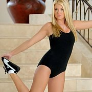 Sweet Blonde Debutante On The Stairs