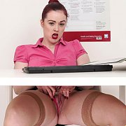 Redhead Office Chick In Stockings Flashing Panties