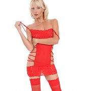 Red Fishnets And Lingerie On Blonde Babe