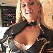 Blonde Coed Strips Stewardess Uniform