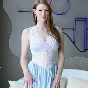 Blue And White Lingerie Gown Petite
