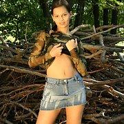 Jean Skirt Latina Tease Strips Outdoors