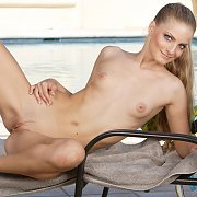 Slender Blonde Toys By The Pool