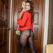 Lovely Nylon Legs Brunette Gal On Tip Toes