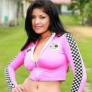 Racer Girl Busty Latina Strips