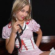 Blonde Teen Petite Nurse Showing Thong