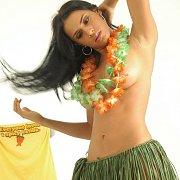 Lusty Teasing Latina In Hula Skirt