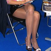 Pantyhose Upskirt Blonde At The Car Show