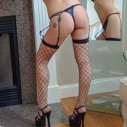 Hot Coed In Fishnets And Thong Panties