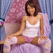 Petite Black Teen Cutie In Thigh Socks And Thong