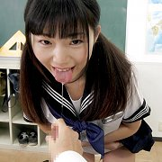 Uniform Asian Teen With Pigtails Showing Panties