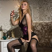 Busty Swedish Babe Strips Lingerie In Stockings