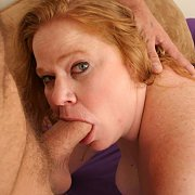 Red Hair Chunky Milf Sucking Cock