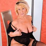 Mature Blonde In Black Lingerie